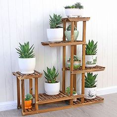 MALAYAS Wooden Plant Flower Display Stand Wood Pot Shelf Storage Rack Outdoor Indoor 6 Pots Holder 96x95x25Cm