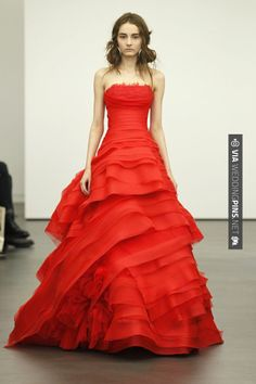 Fantastic - screaming red, love! Vera Wang | CHECK OUT MORE GREAT RED WEDDING IDEAS AT WEDDINGPINS.NET | #weddings #wedding #red #redwedding #thecolorred #events #forweddings #ilovered #purple #fire #bright #hot #love #romance #valentines