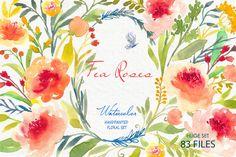 Tea Roses-Watercolor Clip Art by SmallHouseBigPony on Creative Market