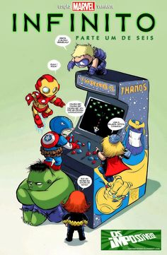 Young Avengers Playing Thanos Arcade Game - Skottie Young Art - News - GeekTyrant Marvel Dc Comics, Ms Marvel, Marvel Art, Marvel Heroes, Marvel Kids, Thanos Marvel, Hulk Marvel, Baby Avengers, The Avengers