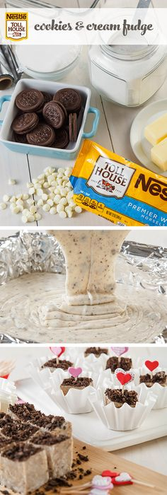 Make this Cookies and Cream Fudge that everyone will love this Valentine's Day. Gifting this rich, decadent fudge made with cream-filled chocolate sandwich cookies and NESTLÉ® TOLL HOUSE® Premier White Morsels will make you the most popular cupid on the block.