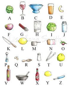 Chef gift kitchen art print ABC alphabet by LisaJaneSmith on Etsy
