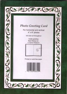 amazoncom very pretty green holly border10 pack of photo christmas cards - 4x6 Photo Insert Christmas Cards