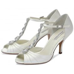 Mia by Benjamin Adams Designer Ivory Dyeable Vintage Wedding or Occasion Shoes