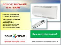 NOWOŚĆ!!! Firma #Sinclair dostawca urządzeń klimatyzacyjnych oferuje   klimatyzator z serii ZOOM, który charakteryzuje się ukrytym odbiornikiem podczerwieni oraz klasą energetyczną A++/A+. Produkt wyposażony jest fabrycznie w kartę sieciową, umożliwiającą zdalną jego obsługę oraz posiada 3-letnią gwarancję. Zastosowano w nim ekologiczny i wydajny czynnik chłodniczy R410A. Urządzenie wykorzystuje filtr katechinowy i węglowy. Ponadto posiada obustronny wylot wody oraz łatwy do czyszczenia…