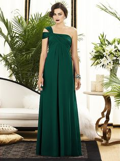 Full length one shoulder lux chiffon dress w/off the shoulder drape detail. Slight shirring at center front skirt. Empire waist. Sizes available: 00-30W, and 00-30W extra length http://www.dessy.com/dresses/bridesmaid/2881/