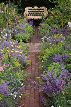 Years of Hidcote', Chelsea Flower Show great use of lavender, cute path, garden bench Small Cottage Garden Ideas, Cottage Garden Design, Flower Garden Design, Beautiful Flowers Garden, Beautiful Gardens, Back Gardens, Outdoor Gardens, Garden Paths, Garden Landscaping