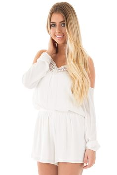 Lime Lush Boutique - Off White Cold Shoulder Romper with Crochet Lace Detail, $54.99 (https://www.limelush.com/off-white-cold-shoulder-romper-with-crochet-lace-detail/)#fashion#spring#happy#photooftheday#followme#follow#cute#tagforlikes#beautiful#girl#like#selfie#picoftheday#summer#fun#smile#friends#like4like#pinterestfollowers
