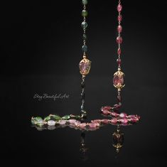 Very long Watermelon Tourmaline Rainbow Necklace features lovely watermelon tourmaline slices. This necklace finished with 14K Gold Filled wire and hook clasp.