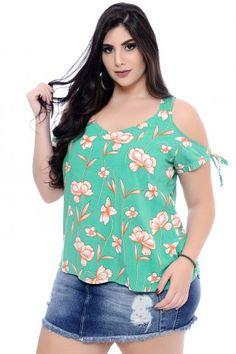 Blusa Plus Size Lírio Verde Curvy Outfits, Fashion Outfits, Womens Fashion, Plus Size Dresses, Plus Size Outfits, Casual Xl, Plus Size Summer Fashion, African Dress, Plus Size Women