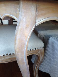 painted chairs - Liming wax (white wax) used on this older light colored wood to give it a washed revived look White Painted Furniture, Painted Chairs, Chalk Paint Furniture, Refurbished Furniture, Furniture Projects, Furniture Making, Furniture Makeover, Wood Furniture, Whitewash Furniture
