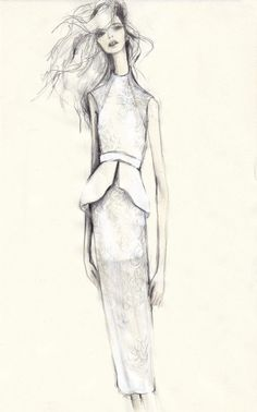 Fashion illustration - peplum dress sketch; feminine fashion drawing // Pippa McManus for Manning Cartell