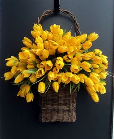basket of tulips.  Great to hang on the front door in the Spring