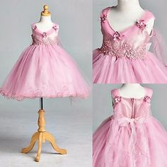 Dusty rose application tull dress flower girl #bridesmaid #holiday #pageant #33,  View more on the LINK: http://www.zeppy.io/product/gb/2/262062817590/
