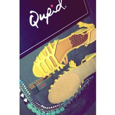 Qupid LaceUp Palmer Suede Sandals Brand New!!Yellow Suede LacedUp Sandals Qupid Shoes Sandals