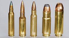 AR-15 Rifle Chamberings - L TO R: .223/5.56 NATO, 6.5 GRENDEL, 6.8 SPC, .458 SOCOM, AND .50 BOEWOLF.