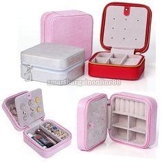 Mini Leather Jewelry Ring Display Organizer Holder Case Travel Portable Zip Box 90,-