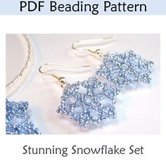 Beaded Snowflake Necklace Earring Set PDF Beading Pattern |