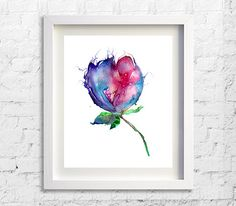 Colorful Wall Decor Flower Watercolor Art by Watercolorflower