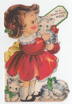 Vintage Greeting Card Christmas Girl Kittens Cats Die-Cut Hallmark 1940s j942