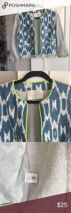 Anthropologie Souvenir Edition by Staci Woo Ikat This blue ikat pattern with neon green piping is perfect for spring! It immediately elevates any outfit! Anthropologie Jackets & Coats