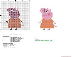 Mamá Pig Peppa Pig patrón punto de cruz pequeño 26x32