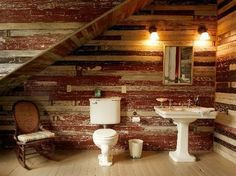 don't like the vintage sink and toilet but the walls have so much character