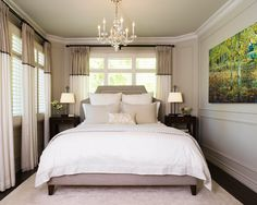 The walls are traditional (the lines/indents) and the chandelier is also traditional. The grays, whites and dark browns are very common colors to the transitional style. The bed headboard is beautiful with the straight and slightly curved lines and upolstered fabric (can't tell, but could be corduroy) It is also balanced.