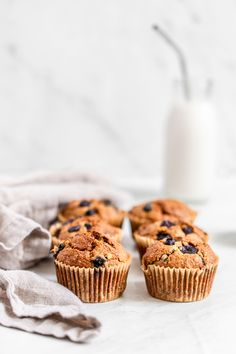 Oatmeal Banana Blueberry Muffins - perfectly sweet, soft and moist and grain-free. The best healthy muffins you'll ever make! Healthy Muffin Recipes, Healthy Muffins, Banana Bread Recipes, Blueberry Oatmeal Muffins, Blue Berry Muffins, Bakery Recipes, Dessert Recipes, Desserts, Cupcake Recipes