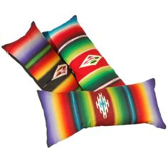 Fantastic Early Mexican Sarape Wool Bolster Pillows