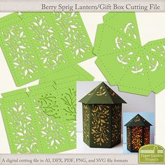 Digital cutting file to create a berry sprig style lantern for a battery operated tea light. Can also be used as a gift box. SVG files included