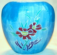 HANDMADE HAND PAINTED BLUE ROUNDED VASE WITH FLORAL ART MADE BY STUDENT