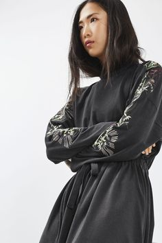 TALL Embroidered Batwing Dress - Topshop