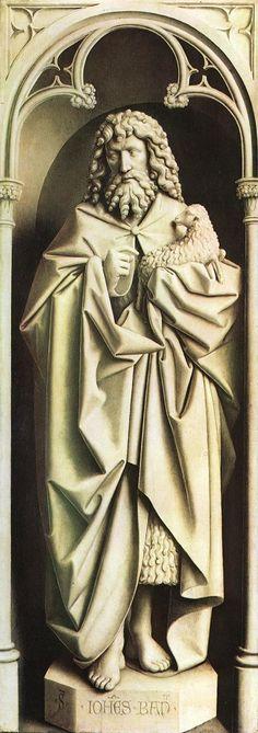 JAN VAN EYCK (1395-1441) - The Ghent Altarpiece - St John the Baptist .  Johannes de Doper is de patroon van de Sint-Janskerk, nu Sint-Baafskathedraal, van Gent, waarin dit werk is opgehangen.