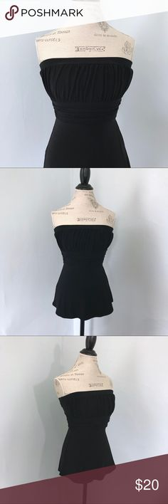 White House Black Market • Strapless Top Excellent used condition. Black strapless top with runching at the top and the waist. Polyester and spandex. Says size XS, but did fit on my size 6 dress form. White House Black Market Tops