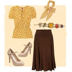 Yellow&Brown. by goldkehlchen on Polyvore featuring Tory Burch, Marc by Marc Jacobs, Steve Madden and Bl^nk London