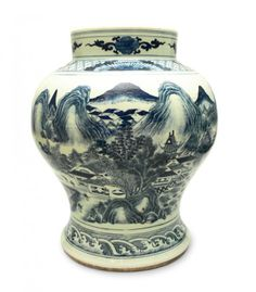 Vase, China, 18th c. porcelain painted with underglaze cobalt; decorated with genre scenes and landscape; height 47.5 cm