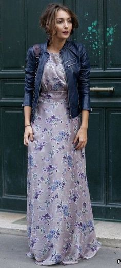 floral maxi dress. leather jacket.