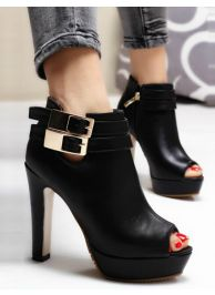 Stylish gold buckle strap thick high heel boots