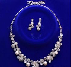 2018 New Korean Style Bridal Jewelry Necklace Earclip Earring Set Girl Prom Cocktail Party Evening Rhinestone Pearls In Stock Cheap 1106