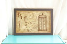 The Tardis & the Doctor- Doctor Who Poster- Vintage Style Print- Art Print- Whovian gift- Doctor Who Art- Geeky Home Decor- Tenth Doctor