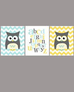 Owl and ABC nursery art - set of three - blue gray yellow - digital print - 8x10 on A4. €33.00, via Etsy.    agree on the owls. EJ wants blue/yellow I want grey/yellow/blue hmmm decisions! Which is more gender neutral?