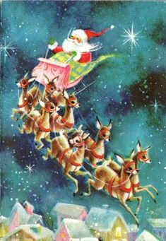 Vintage Christmas Greeting Card Santa Flying Reindeer over rooftop Fold Out Vintage Christmas Images, Vintage Holiday, Christmas Pictures, Vintage Images, Vintage Greeting Cards, Christmas Greeting Cards, Christmas Greetings, Vintage Postcards, Holiday Cards