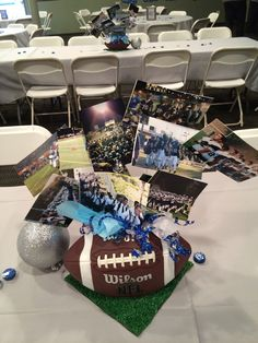 This Would be an appropriate centerpiece for a Sports Banquet because it has the sport the Team played Cheer Banquet, Football Banquet, Football Cheer, Football Tailgate, Flag Football, Football Birthday, Youth Football, School Football, Football Season