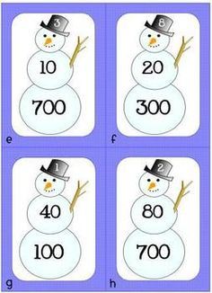 This is a math center for practicing expanded form with numbers through the hundreds. Each snowman card has 3 numbers - ones on the snowman's hat, . Math Strategies, Math Resources, Math Activities, Winter Activities, Math Stations, Math Centers, Work Stations, Expanded Form Math, 1st Grade Math