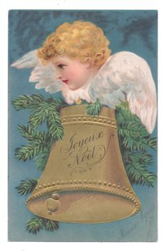 Scarce Ellen Clapsaddle - Christmas Angel Face on Big Golden Bell | eBay