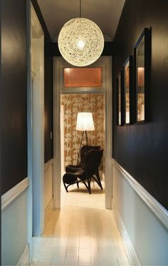 Suddenly I want a narrow hallway! Have a similar light, but the impact is le. Suddenly I want a narrow hallway! Have a similar light, but the impact is less in twice the spa Black Hallway, Long Hallway, Upstairs Hallway, Entry Hallway, Hallway Ceiling, Hallway Ideas Entrance Narrow, Hallway Walls, Flur Design, Dado Rail