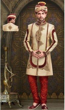 Tan Brown Color Jute Fabric Mens Ethnic Sherwani for Wedding and Ceremony… #Heenastyle, #heenastyle, #Mensfashion, #Mens, #Sherwani, #Menssuit, #indowesturn, #Fashion, #Kurta, #Style, #India