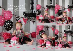 black and pink cake smash.  jennifer nace photography