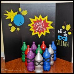 Dollar Store Crafter: Super Hero Themed Birthday Bowling Game
